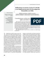 Reflexiones en torno a la ley N° 20.584 y sus implicancias para la investigación biomédica en Chile