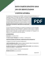 CONVOCATORIA PRESUPUESTO PARTICIPATIVO 2016