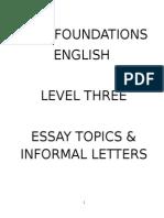 Essays & Informal Letter Topics
