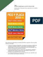 Pico y Placa Medellin 2010