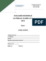 Evaluarea Nationala Limba Romana, Clasa 4 - Test 1