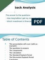 Finance Pay Back Analysis