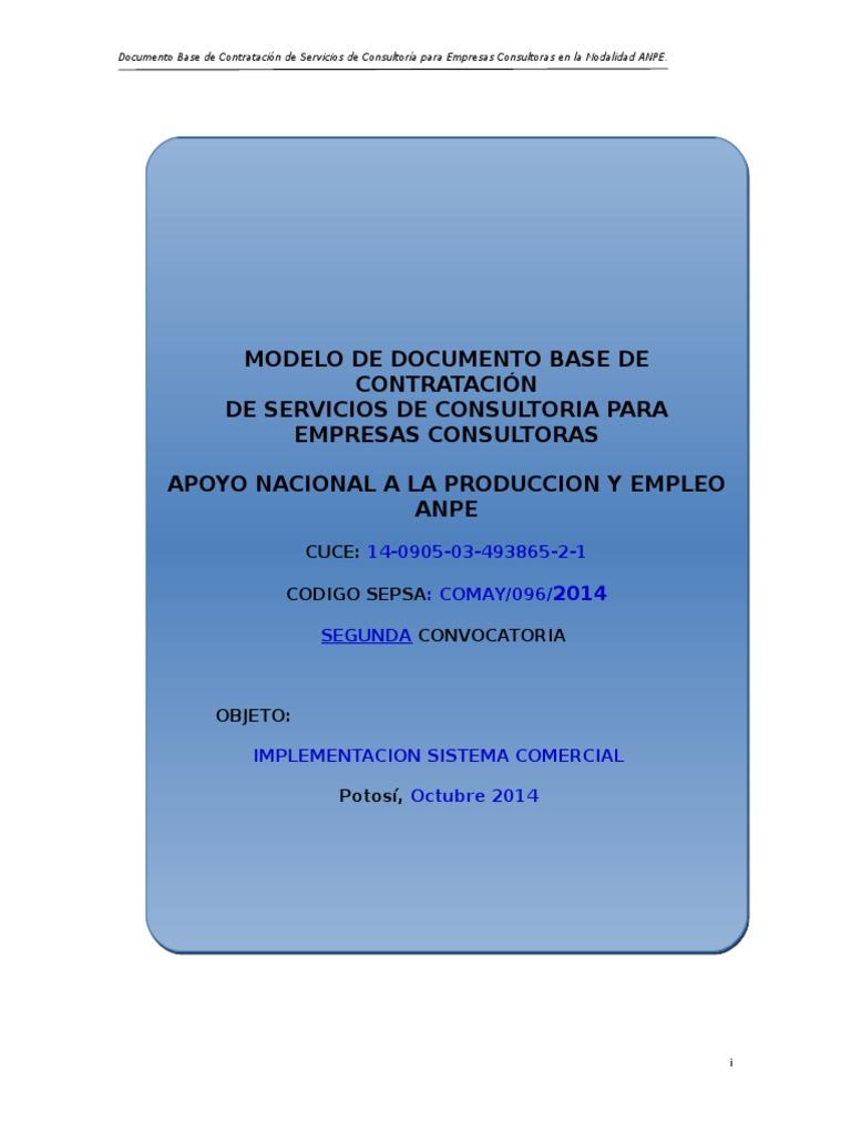MODELO DE DOCUMENTO BASE DE CONTRATACIÓN DE SERVICIOS DE CONSULTORIA ...
