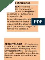 Definiciones de Geriatria