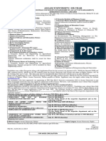 Assam University Notification 2015