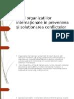 Rolul Organizațiilor Internaționale În Prevenirea Și Soluționarea