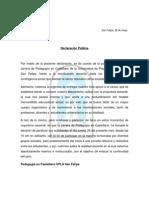 Declaración publica ped. castellano UPLA San Felipe