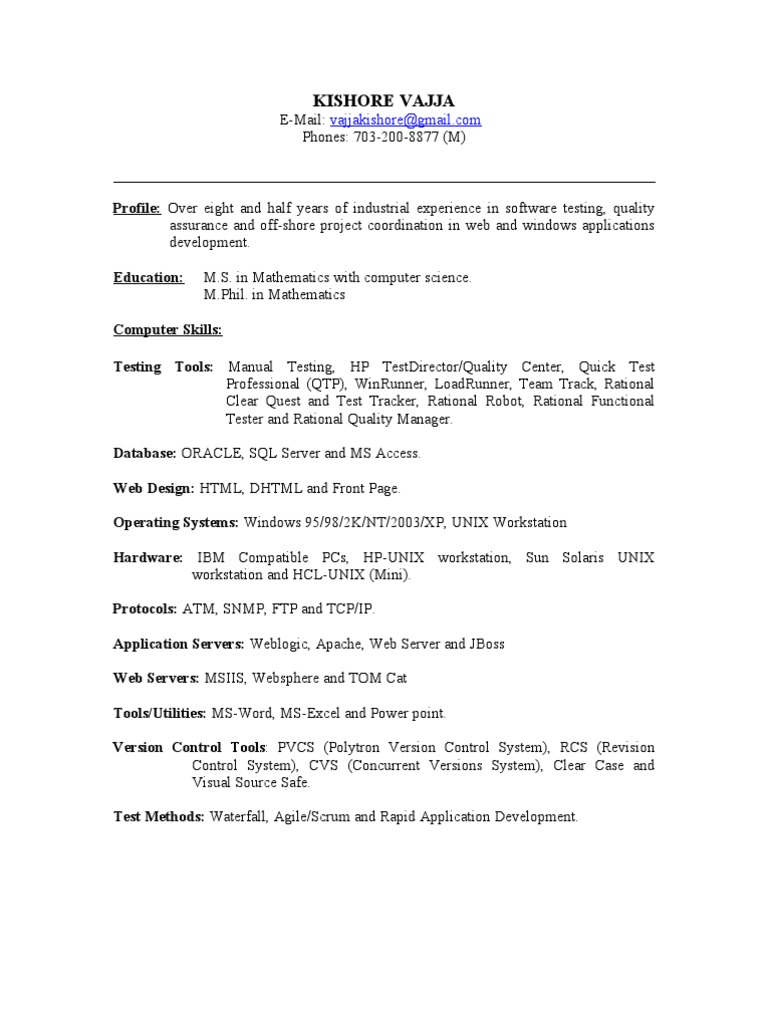 qa tester resume sample selenium software software testing