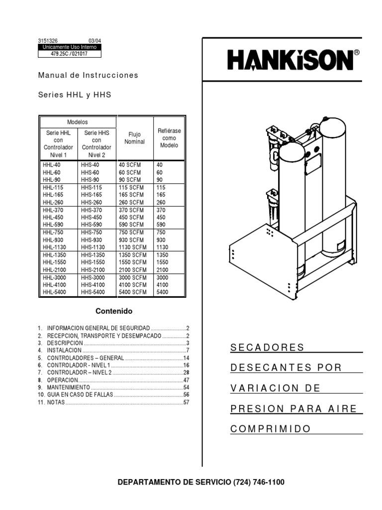 Manual Español Secadora Hankison HHL-HHS
