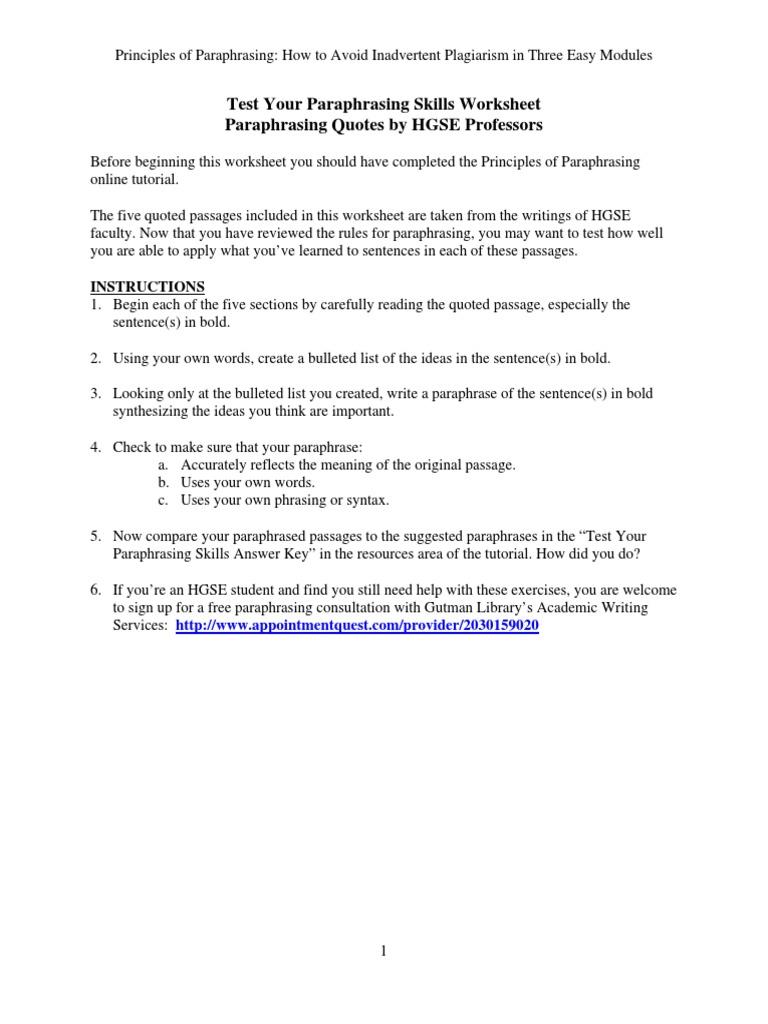 Test Your Paraphrasing Skills Worksheet | Sampling (Statistics ...