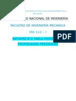 Informe 2 Química Tabla Periódica y Propiedades Periódicas