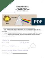"""Evaluación Ciencias Naturales Unidad """"La Luz"""" 3° básico"""