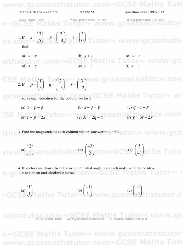 Vectors Worksheet #01, Shape & Space revision from GCSE Maths Tutor