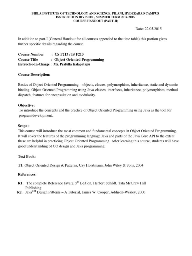 Cs f213 is f213 Handout | Java (Programming Language) | Class