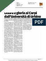Onore e gloria al Carpi dall'Università di Urbino - Gazzetta di Modena del 26 maggio 2015