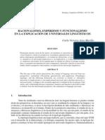 Racionalismo, Empirismo y Funcionalismo en La Explicación de Universales Lingüísticos