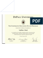 DePaul Co-Op Program Certificate of Completion