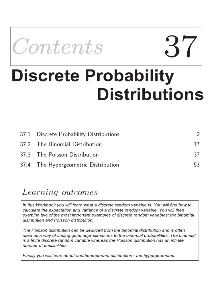 37_1 | Probability Distribution | Random Variable
