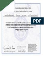 chris reisner teaching certificate