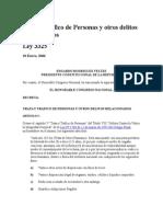 Ley 3325 Trata y Trafico de Personas y otros delitos Relacionados