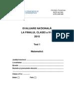 Test 1 Subiecte Matematica Evaluarea Nationala de La Finalul Clasei a IV A