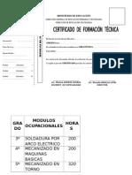 Certificado de Formacion Tecnica