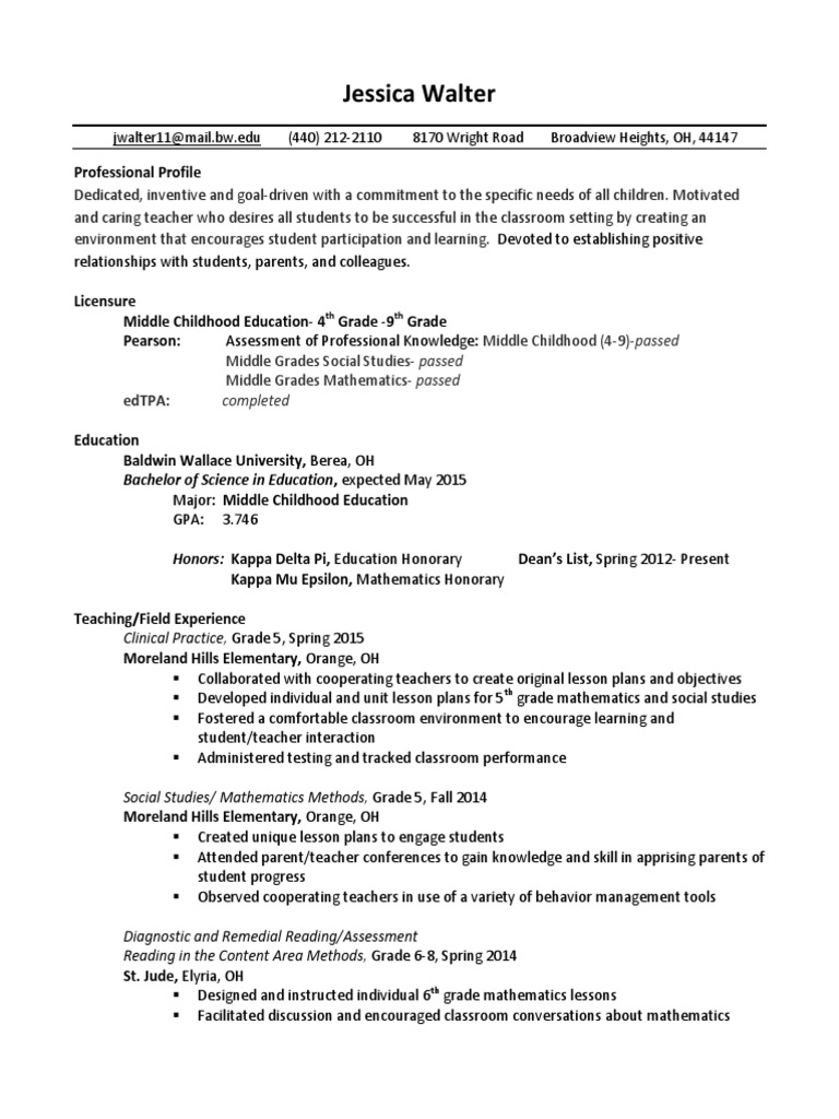 jessica walter resume