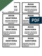 Etiquetas Água Sanitária