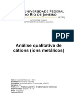 Relatorio de Quimica analitica experimental