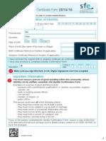 SFE Birth Adoption Certficate Form 1516 DD