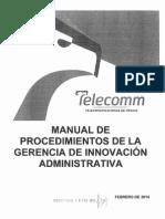 TELECOMM 2014 Manual de Procedimientos de La Gerencia de Innovación Administrativa