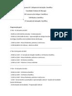 Cronograma XV Colóquio de Iniciação Científica