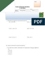 prueba 6° basico ecuaciones