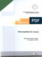 Informe Investigacion Especial 3 / 14 Municipalidad de Linares Eventuales Irregularidades - Agosto 2014