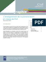 Bibliographie Enseignement Prononciation en Classe de Fle