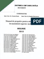 Manual de Pregatire Pentru Admitere in Invatamantul Superior Medical BIOLOGIE 2015