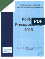 Politica Presupuestaria Para El Ejercicio Fiscal 2015 el salvador