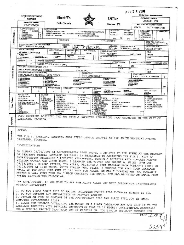 Stobert Incident Report and FBI Records