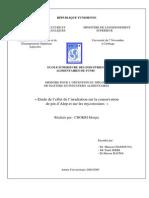 PFE ESIAT Etude de l'Effet de l'Irradiation Sur La Conservation de Pin d'Alep Et Sur Les Mycotoxines »