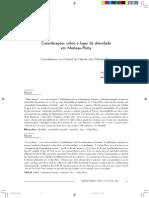 Considerações Sobre o Lugar Da Alteridade Em Merleau-Ponty