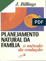 Planejamento Natural Da Família o Método Da Ovulação Billings Dr. John Billings
