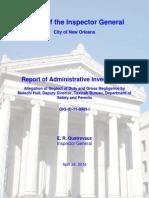 Report of Administrative Investigation