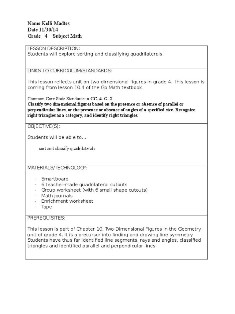 Worksheets Classify Quadrilaterals Worksheet lesson 10 4 shape perpendicular