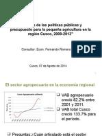 Balances de Las Politicas Publicas y Presupuesto Para Pequeña Agricultura en La Region de Cusco 2009-2013