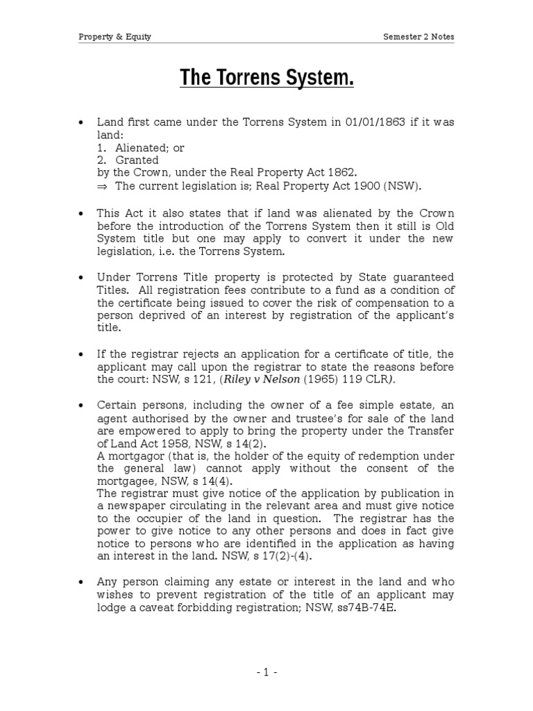 Torrens System Mortgage Law Lien