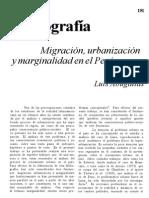 migración, urbanización y marginalidad en el Perú