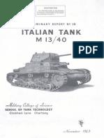 Preliminary Report No. 18 - Italian Tank M 13/40