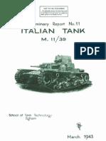 Preliminary Report No. 11 - Italian Tank M 11/39