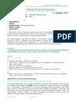 Entretien Psychologique Notes de Cours 2012 Leyla Akman