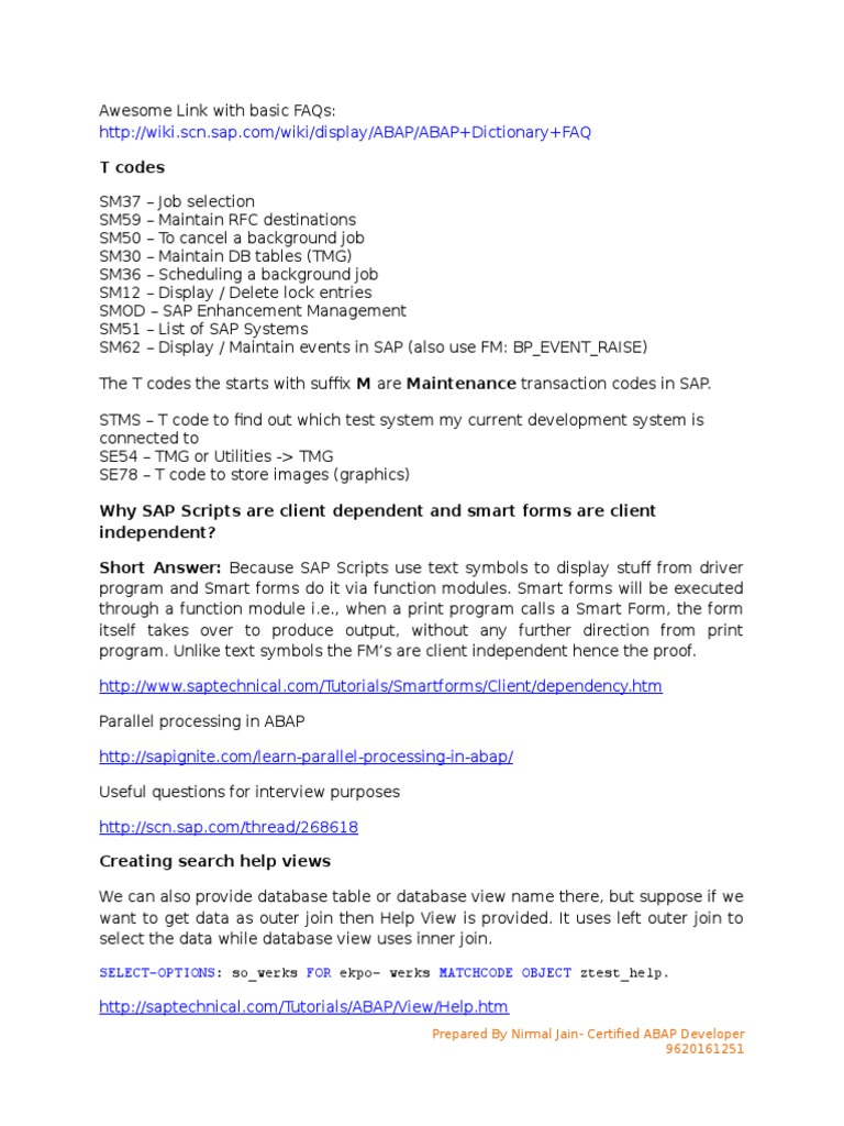 ABAP Interview preparation  docx | Database Index | Databases